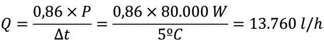 Ejemplo de cálculo de caudal a partir de la potencia térmica.