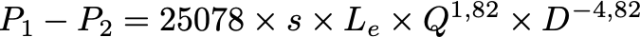 Fórmula de Renouard lineal para el cálculo de tuberías de gas.