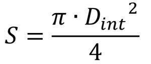 Sección de la tubería a partir del diámetro.