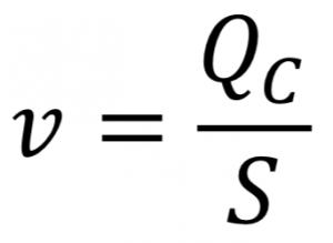 Velocidad del agua, a partir del caudal y la sección.