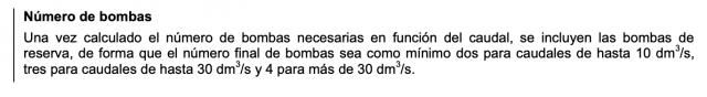 Número de bombas según la HS4
